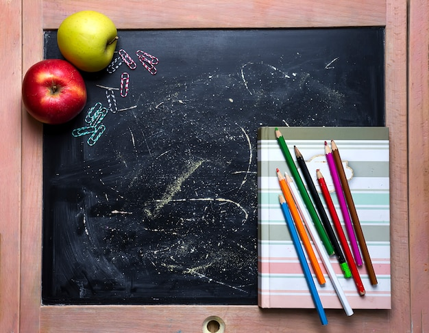 Apple and chalkboard.
