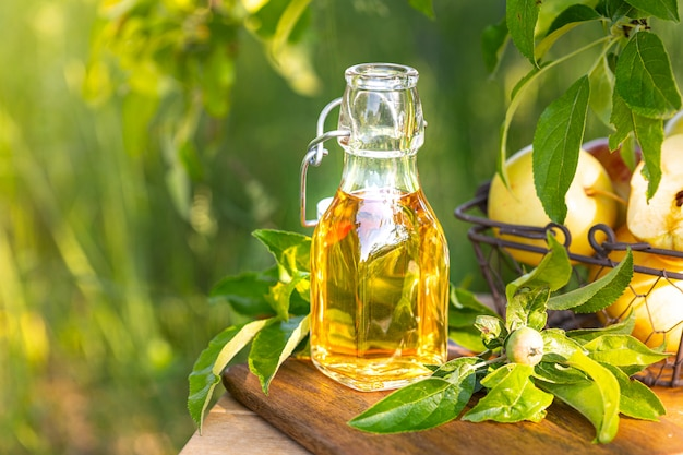 Apple cider vinegar in a glass bottle on a garden.