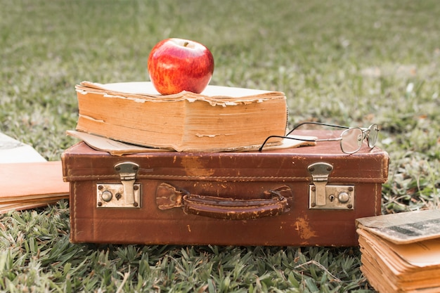 Apple and glasses on book and suitcase