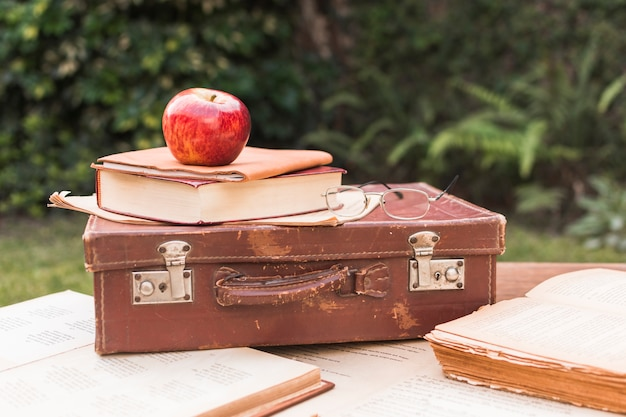 Apple and glasses lying on suitcase near books