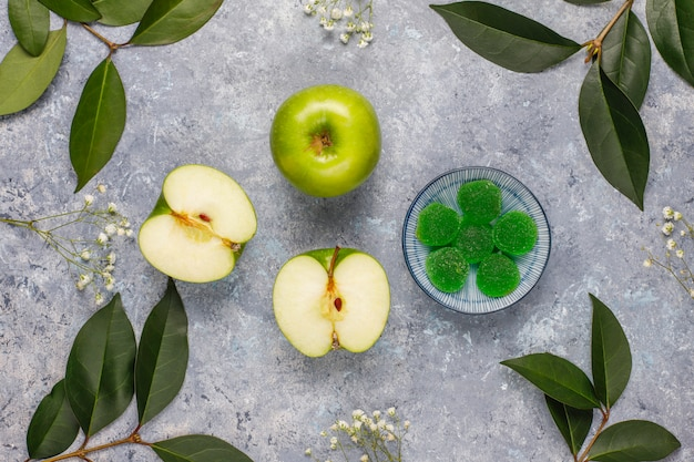Apple green marmalade candy in sugar. healthy dessert for gourmets.