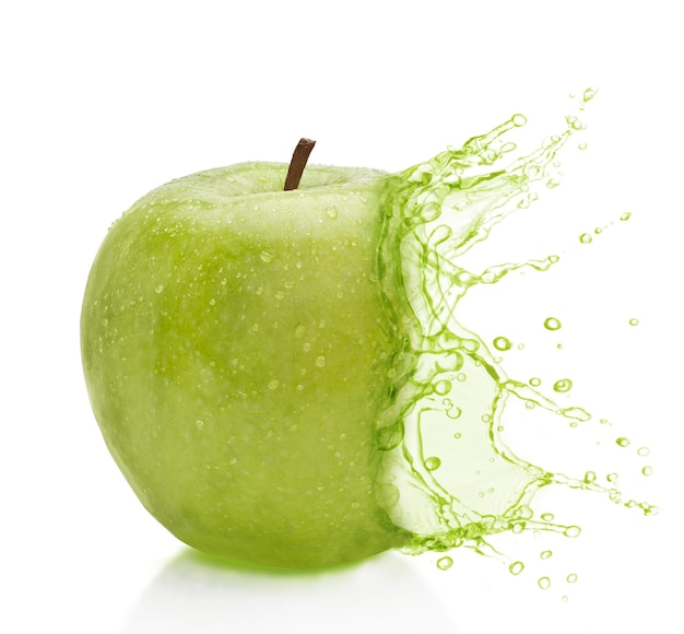 Apple green splash background white