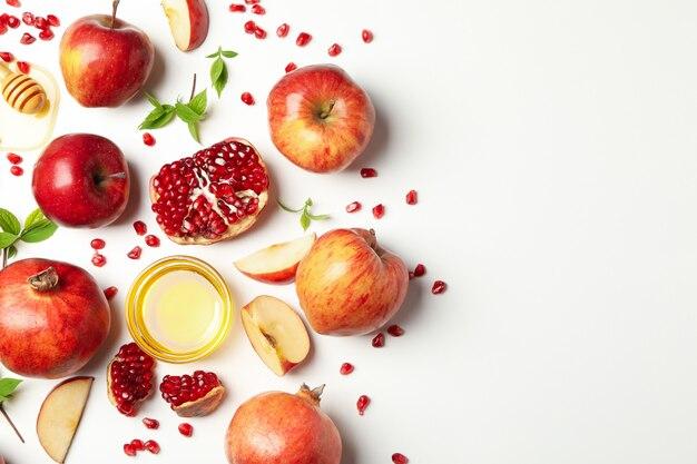 흰색, 평면도에 사과, 꿀, 석류