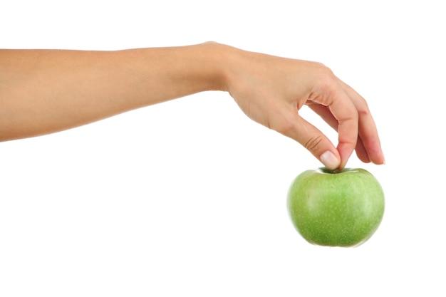 여자 손에 애플을 닫습니다.