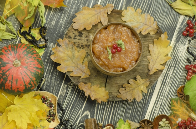 Apple jam in harvest time. bowl with apple jam
