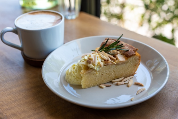 Apple pie cake with coffee cup