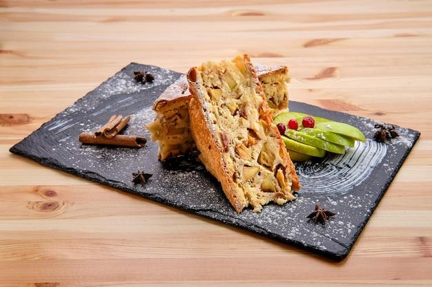 Apple pie on slate plate