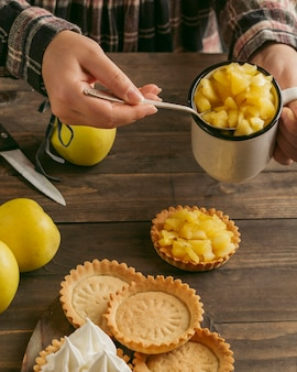 Apple pie tart with whipped cream