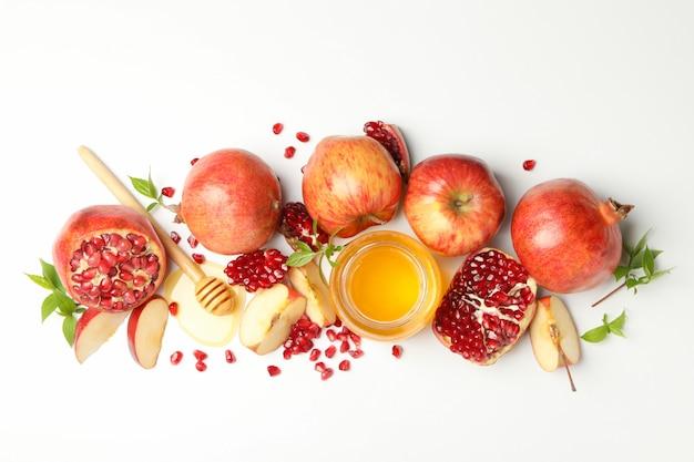 사과, 석류, 꿀 흰색, 상위 뷰. 가정 치료