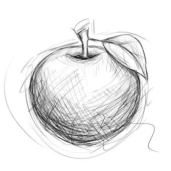 애플 스케치. 낙서 스타일의 손으로 그린 과일 그림. 연필 드로잉입니다.