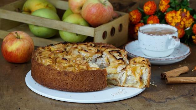 Apple tart or pie witn cinnamon, on the wooden old background, copyspace