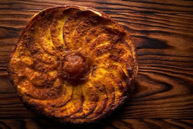 Apple tatin pie cake on puff pastry dessert