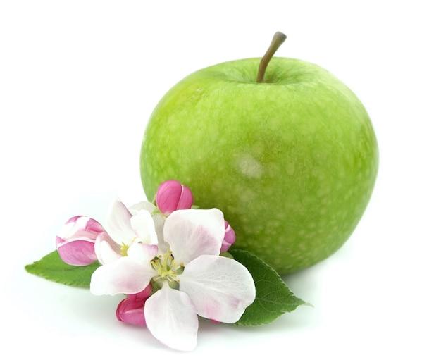 Яблоко с цветком крупным планом