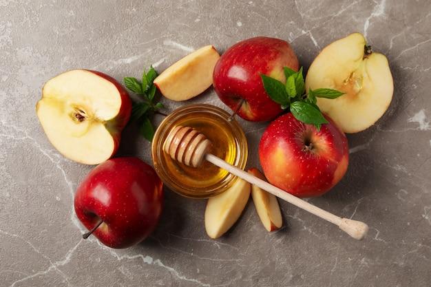 회색, 평면도에 사과와 꿀