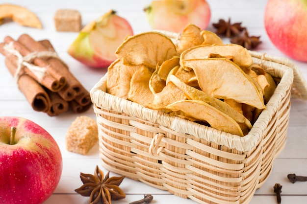 Apples are fresh and dry with spices. cinnamon sticks, star star anise star and cloves.