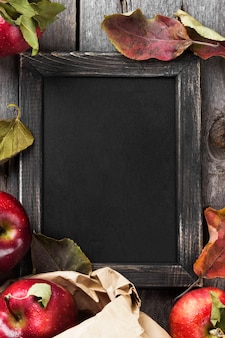 Apples and blackboard