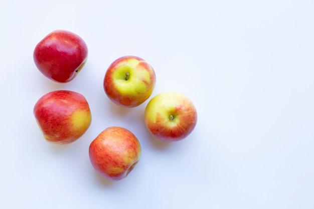 Apples isolated on white background. top view