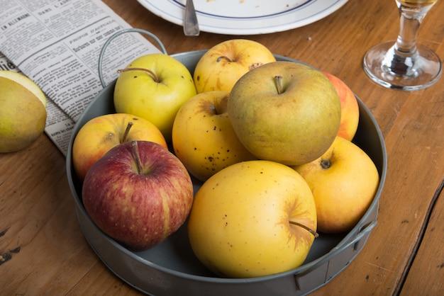 Apples in a metal basket