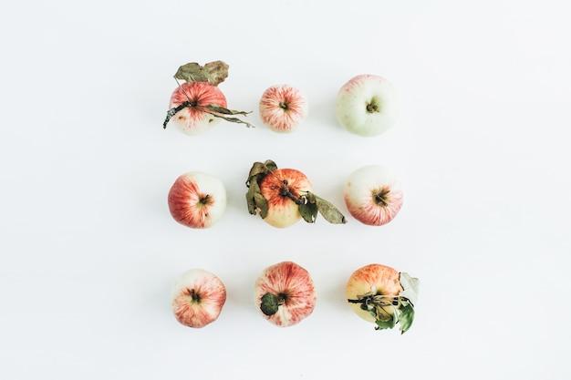 白い表面にリンゴの最小限の組成