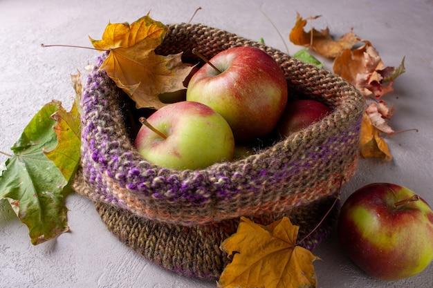 秋の収穫のりんごはニット帽に横たわっています