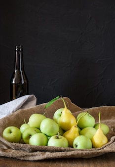 Apples and pears. apples in bowl. garden fruits. healthy. vegetarian. diet. cider