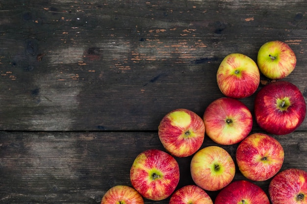 Apples on wooden table . fresh fruit backdrop with empty