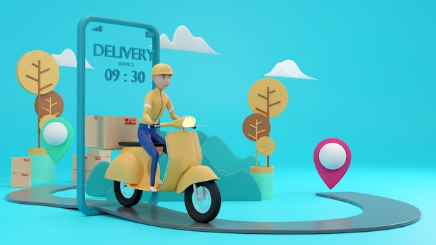 Application delivery staff take the parcel. 3d rendering