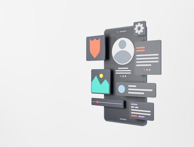 Разработка приложений и uiux design concept 3d-рендеринг