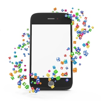 Application icons around touchscreen smartphone with blank screen
