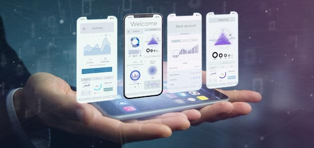 스마트 폰의 응용 프로그램 인터페이스 ui-3d 렌더링