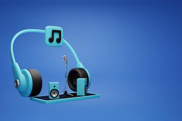스마트 폰 개념에 응용 프로그램 음악.