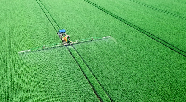 Application of water-soluble fertilizers, pesticides or herbicides in the field. view from the drone.