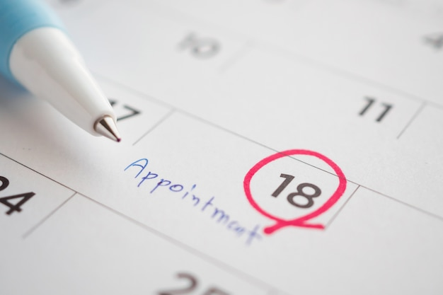 Appointment schedule write on calendar