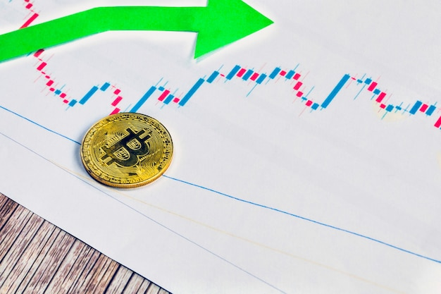 Appreciation of exchange rates of virtual money bitcoin. green arrow with golden bitcoin ladder on paper forex chart background. cryptocurrency concept. with copy space