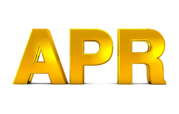 Apr gold 3d text - april month abbreviation isolated on white background. 3d render.