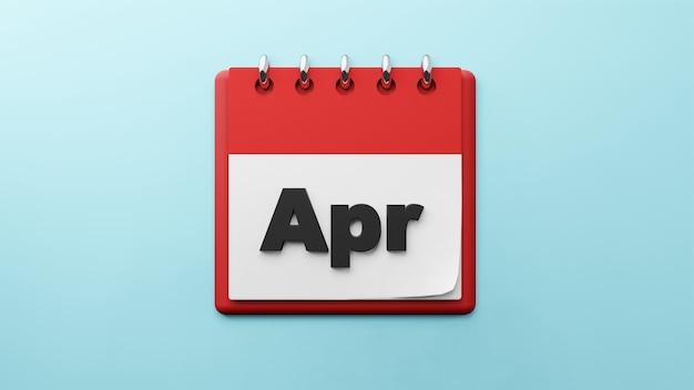 紙のデスクカレンダーの4月3dレンダリング