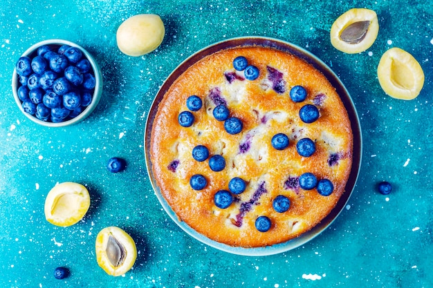 Torta di albicocche e mirtilli con mirtilli freschi e frutta albicocca.