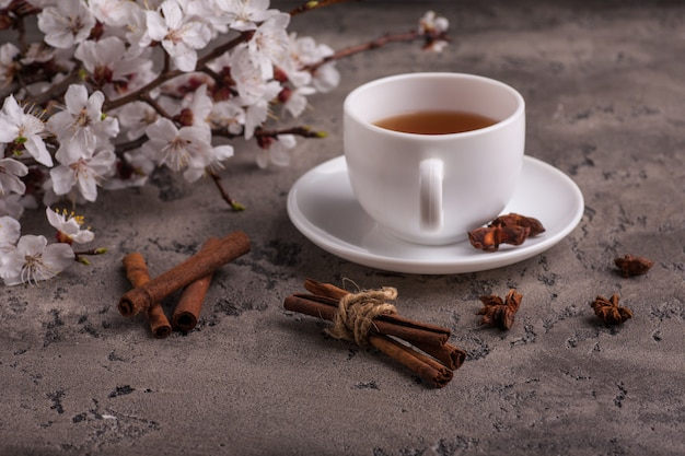 Apricot flowers and tea