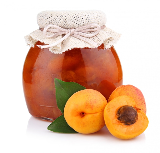 Apricot jam isolated