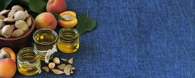 Apricot kernel oil. apricot oil extraction concept. healthy diet.