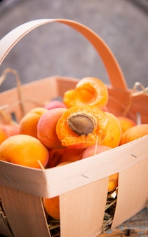 Apricots in basket
