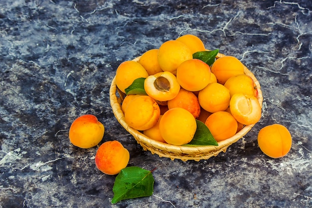 Apricots on a white background. selective focus.
