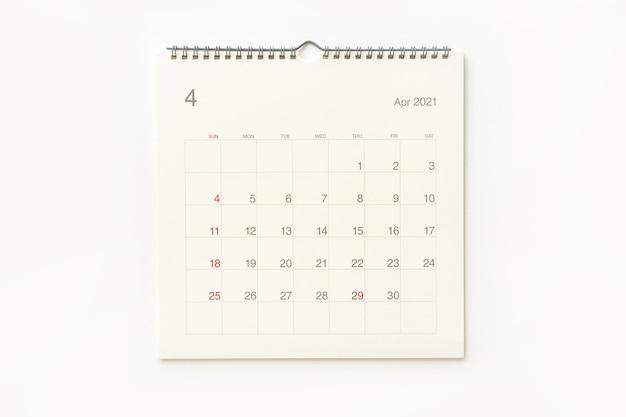 Страница календаря апреля 2021 года на белом фоне. фон календаря для напоминаний, бизнес-планирования, встреч и мероприятий.