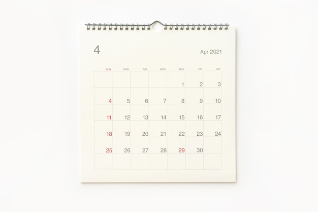 April 2021 calendar page on white background. calendar background for reminder, business planning, appointment meeting and event.