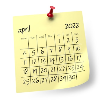Календарь на апрель 2022 года. изолированные на белом фоне. 3d иллюстрации