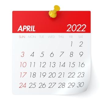 Апрель 2022 года - календарь. изолированные на белом фоне. 3d иллюстрации