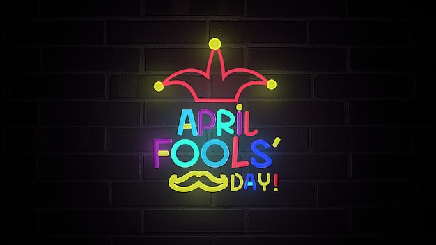 April fools day with neon illustration. 3d rendering