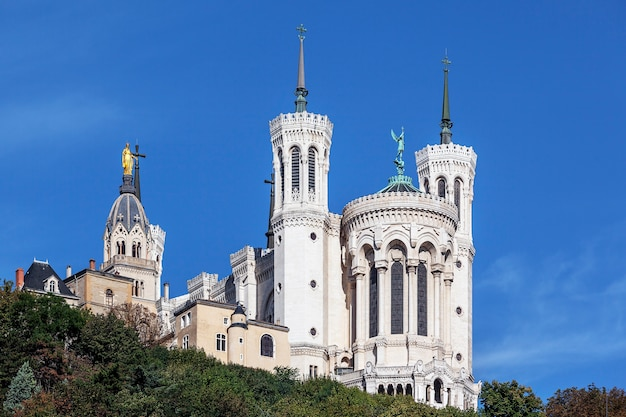 The apse of the basilica of notre dame de fourviere in the historical center of lyon