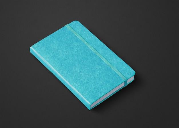 Aqua blue closed notebook mockup isolated on black