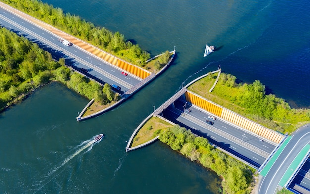 Aquaduct veluwemeer nederland aerial view from the drone a sailboat sails through the aqueduct